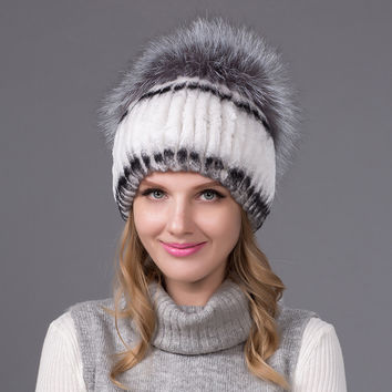 2016 Winter Warm Thick Earmuffs Women Knitted Hats Real Rex Rabbit Fur Cap With Silver Fox Fur Back Flower Ball THY-09