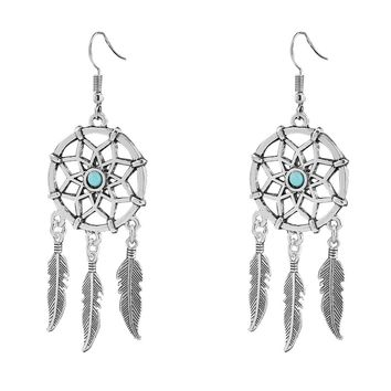 Dreamcatcher Feather Silver Tone Blue Bead Pendant  Necklace+Earring