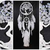 White Dream Catcher Tree of life Dreamcatcher wedding Dream сatcher Moonstone dreamcatchers decor wall handmade white gift Valentine's Day