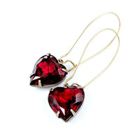 Red Heart Earrings Garnet Rhinestone Earrings Vintage Jewels Romantic Vintage Style Valentine Jewelry - Hearts