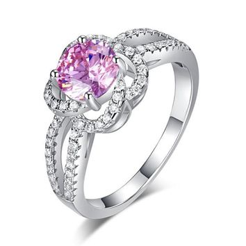 Floral 925 Sterling Silver Wedding Promise Anniversary Ring 1 Ct Fancy Pink Simulated Diamond Jewelry