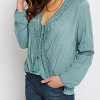Mint Lace Surplice Shirt | Blouses | rue21