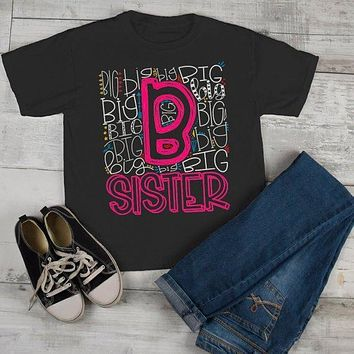 Girl's Big Sister T Shirt Typography Tee Matching Sibling Shirts Cute Tees Baby Announcement Shirt