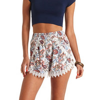 PRINTED CROCHET TRIM TULIP HIGH-WAISTED SHORTS