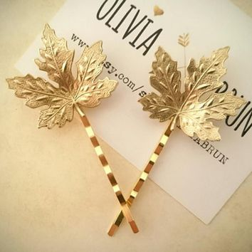 Vintage Hair Jewelry Silver Gold Color Maple Leaf Bobby Pin Fancy Metal Plant Hair Clip Hairpin For Women Girls Hair Accessories