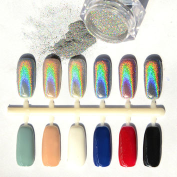 1g MIRROR POWDER NAILS Holographic Nail Powder Chrome Nail Polish Nail Art Glitter Unicorn Powder Pigment Laser Powder Sequins