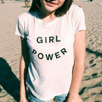 GIRL POWER letters printed T-shirt