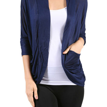 3/4 Sleeve Open Front Shrug Cardigan