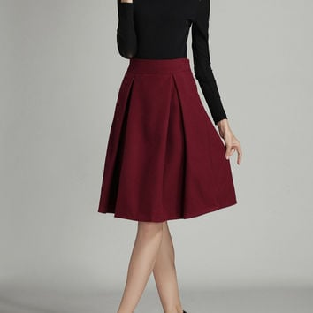 Burgundy High Waist Midi Woolen Skirt