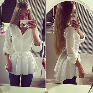 NEW Women's Blouse Shirt Long Sleeve Button Down Casual Tops Ladies Slim