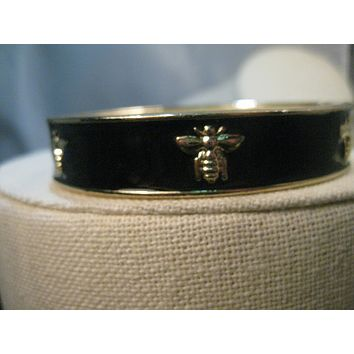 "Vintage Black Enameled Bee Clamper Bracelet, 6.5"" - 1970's, 1.2"" wide, Gold Tone"