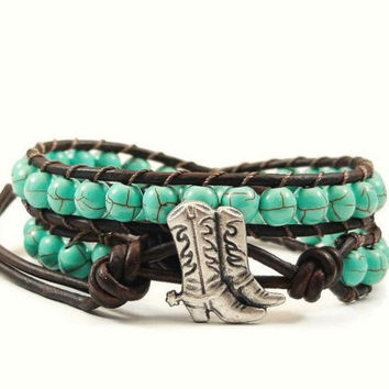 Leather Wrap Bracelet Turquoise Blue Magnesite Gemstones Cowboy Boot Button Beaded Jewelry