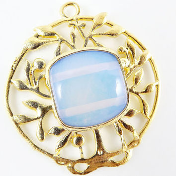 Olive Branch Pendant with Bezel Set Rainbow Moonstone Opalite - 22k Matte Gold Plated - 1PC