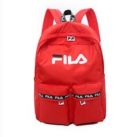 FILA Women Men Casual Simple School Backpack Travel Bag Red