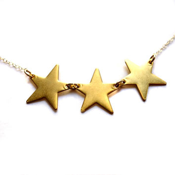 Small Triple Brass Star Necklace on 14k Gold Fill Chain