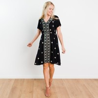 Griffin Embroidery Dress - Black | Called To Surf