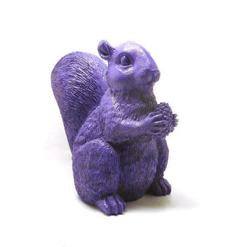 ON HOLD purple squirrel figurine, outdoor decor, garden, patio, bright color, colorful, squirrels, woodland, acorn, violet,