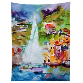 Ginette Fine Art Sailing Past Vernazza Italy Tapestry
