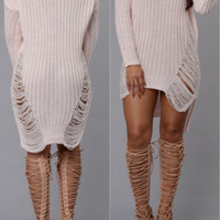 Shredded Knit Sweater Dress Apricot
