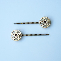 Pentagram Pentacle Bobby Pins  Set of 2  by magiccircleclothing