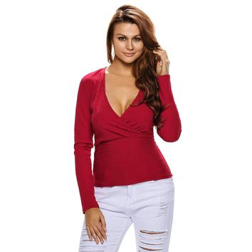 Red Sexy Crop Plunging Cross V Neck Stretch Knitwear Top
