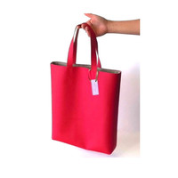 Medium Red Vegan Leather Tote /  Red faux leather tote bag / handmade tote bag / Red leather handbag / street style red bag / Summer bag