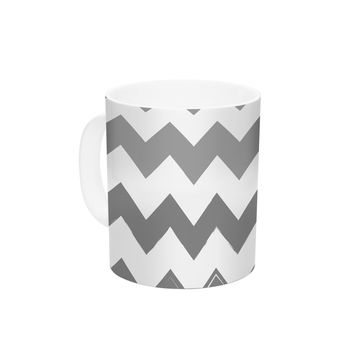 "KESS Original ""Candy Cane Gray"" Chevron Ceramic Coffee Mug"