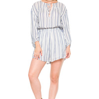 (akz) Striped long sleeves romper -White-