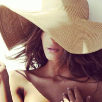 Bold Sexy On Trend Wide Brim Straw Hat. (6) Luscious Colors!