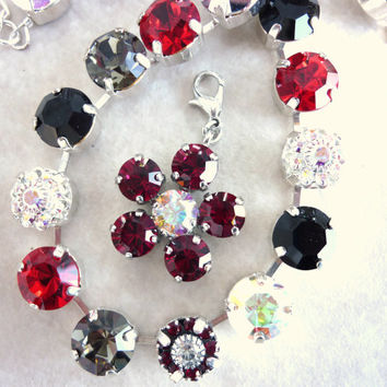 Swarovski crystal daisy pendant- ruby red, detachable and compatible with Sabika and siggy Jewelry- Valentine's Day
