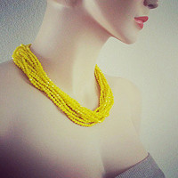 Neon Yellow Chunky Crystal Wedding Necklace, Yellow Bridal Necklace Bridesmaids Gift Jewelry