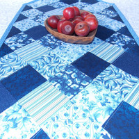 Blue Table Runner Quilt - Delft Blue and White - Floral, Stripes, Leaves