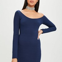 Missguided - Carli Bybel x Missguided Navy Long Sleeve Ribbed Dress