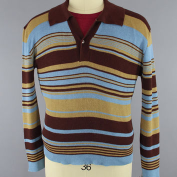 Vintage 1970s Men's Sweater / 70s Preppy Men's Knit Shirt / Blue & Brown Striped Knit Polo Sweater