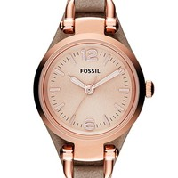 Women's Fossil 'Small Georgia' Leather Strap Watch, 26mm - Sand/ Rose Gold