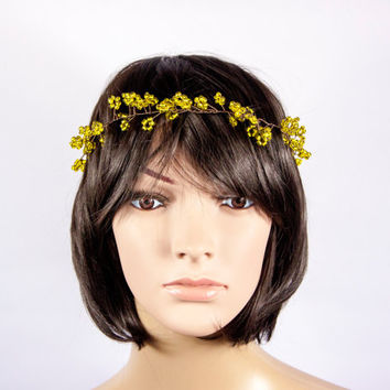 Gold Extra Long Bridal Hair Vine, Wedding Pearl Hair Vine,Hairpiece by LoeKnittings