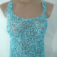 Knitted Transparent Adjustable Strap Turquoise Blouse Top for Spring&Summer by Arzu's Style