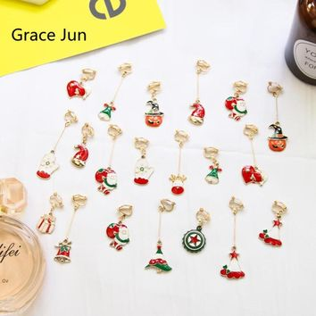 1 Pair New Santa Claus and Christmas Tree Gift Box Pumpkin Head Bell Hat Love Shape Clip on Earrings No Pierced for Women Gifts
