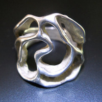 Modernist Sterling Silver Ring, Organic Free Form Open Work, Artisan, Vintage sz 7