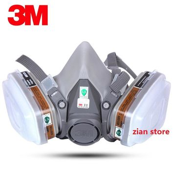 3M 6200 chemical Gas Mask 7 Suit 3M 6001 Filter Paint Spray Respirator Anti-Fog Haze Pesticide Formaldehyde Particles Half Mask