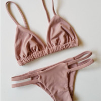 Hot pure color nude two piece bikinis