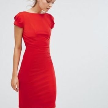 Closet pencil dress with ruched cap sleeve at asos.com