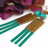 Turquoise and Copper Dangle Earrings - Long, Blue-green, Handmade