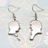 Sherlock and Watson silhouette earrings, dangle cameo silver portrait