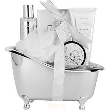 Body Love Frost Cotton Blossom Bath Gift Set - Body Wash, Lotion, Scrub, Bath Crystals and Pouf Packaged in a Silver Tub / Basket - Perfect Gift for your Loved One or to Refresh your Own Body