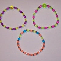 Kawaii Rainbow Rave Stretch Bracelets  Set of 3 by onsecretwings