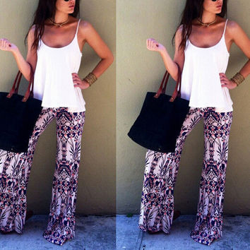 New Summer Palazzo Pants Women High Waist Wide Leg Bohemian Boho Pants Loose 14