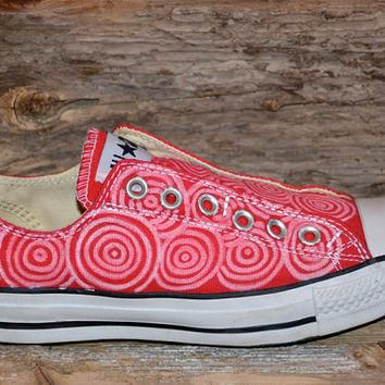 Circles on Red Converse All Star Slip-Ons