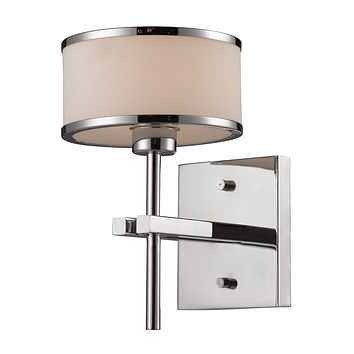 Utica 1-Light Vanity Lamp in Polished Chrome with White Blown Glass