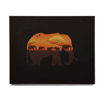 "Eikwox ""African Elephant"" Brown Orange Illustration Digital Animal Print Nature Birchwood Wall Art"